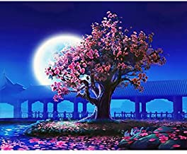 No Frame Peach Blossom DIY Painting By Numbers Landscape Vintage Wall Painting Acrylic Paint On Canvas For Living Room