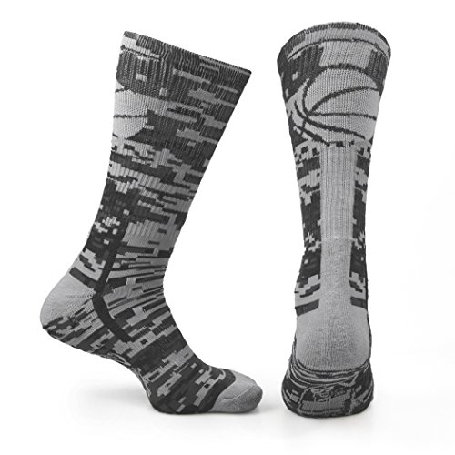 ChalkTalkSPORTS Athletic Half Cushioned Crew Socks | Mid Calf | Basketball Superelite | Camo Gray