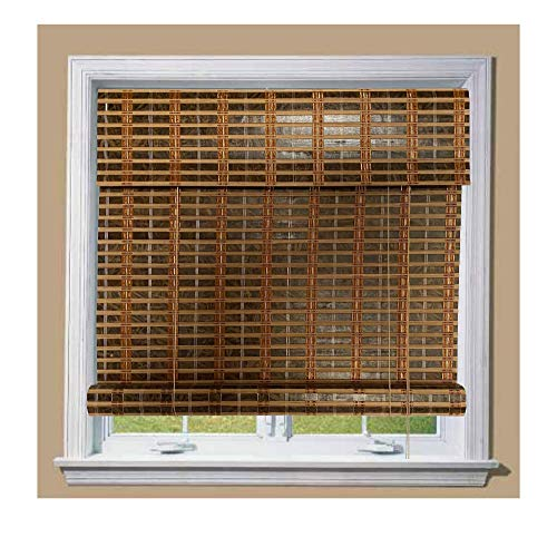 THY COLLECTIBLE Bamboo Roll Up Window Blind Sun Shade, Light Filtering Roller Shades with 8.5-Inch Valence - Carbonized Bamboo (44' x 64')