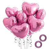Disino 20 Stück Folienballon, Herz Folie Party Luftballons, Heliumballon mit 2 Rollen Bändern, Elegante Luftballons für Hochzeit Brautdusche Geburtstag Valentinstag Dekorationen, 18 Zoll (Rosa)