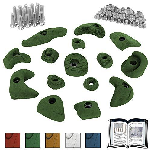 ALPIDEX Starterset: 15 Klettergriffe Klettersteine inklusive Schrauben und Einschlagmuttern - Farbe:grün-meliert