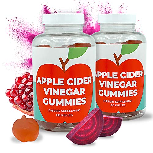 Apple Cider Vinegar Gummies - 120 Gummies - Immunity, Detox & Weight - (2 Pack, 120 Count, Vegan, Beetroot, Pomegranate, B6, B12 & Superfoods)