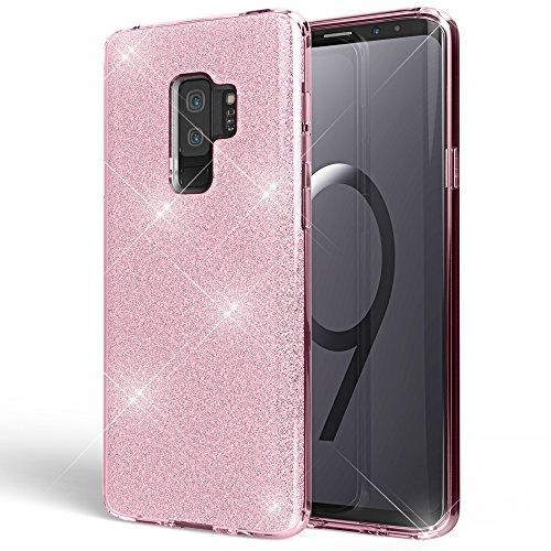 NALIA Handyhülle kompatibel mit Samsung Galaxy S9 Plus, Glitzer Ultra-Slim Silikon-Hülle Back-Cover Schutz, Glitter Sparkle Handy-Tasche Bumper, Dünnes Bling Strass Phone Etui, Farbe:Pink