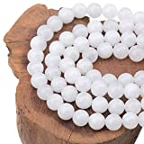 LPBeads 100PCS 8mm Natural White Jade Beads Gemstone Round Loose Beads for Jewelry Making with Crystal Stretch Cord