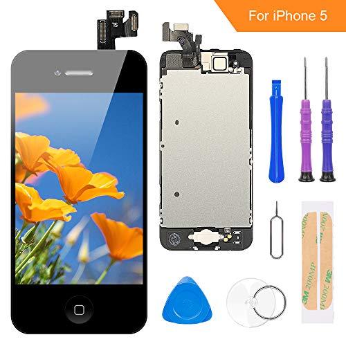 FLYLINKTECH Écran LCD Tactile de Remplacement pour iPhone 5 Noir 4.0 Pouces,modèle Complet préassemblés (caméra Frontale/Bouton Home/capteur de proximité/écouteur) Kit d'outils de réparation (Noir)