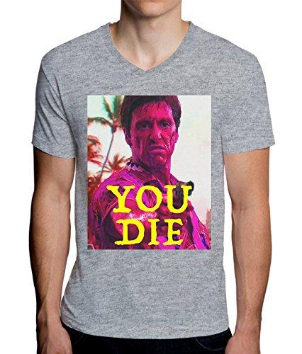 Scarface You Die Colored Design Men's V-Neck T-Shirt Medium