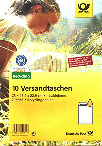 Deutsche Post - 10 Versandtaschen - Der Blaue Engel C5 braun nassklebend