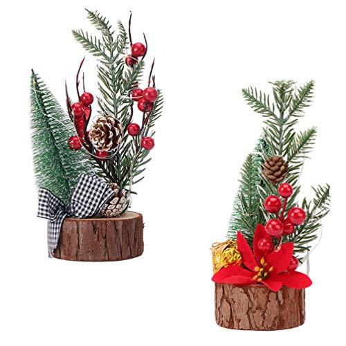 Amosfun 2 Pezzi Albero di Natale Albero di Natale in Miniatura con Albero di Pino Neve Bacche di Agrifoglio per Le Vacanze Artigianali Centrotavola Decorazioni per Feste Natalizie (Come