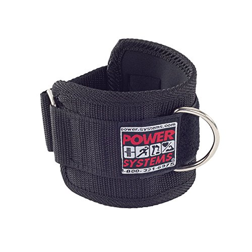 Power Systems Padded Pro Nylon Ankle and Wrist Strap, Strength Training Attachment for Cable Machines or Resistance Bands, 17 x 4 Inches, Black (50765)