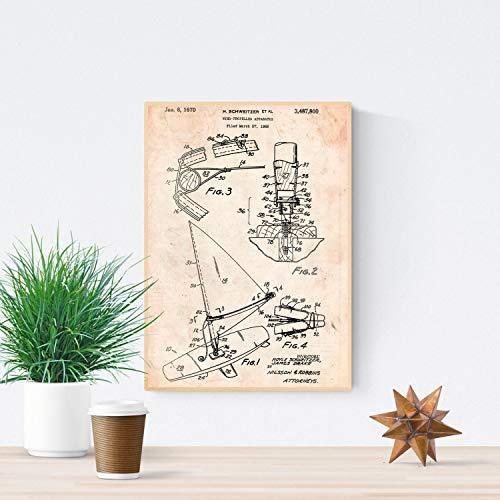 Nacnic Poster de Patente de Tabla de Wind Surf. Lámina para enmarcar. Poster con diseños, Patentes, Planos de inventos Famosos. Tamaño (A3)