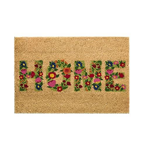 H HANSEL HOME Felpudo para Puerta Entrada Antideslizante para Entrada de Fibra de Coco 100% Natural - Home Spring 40x60 cm