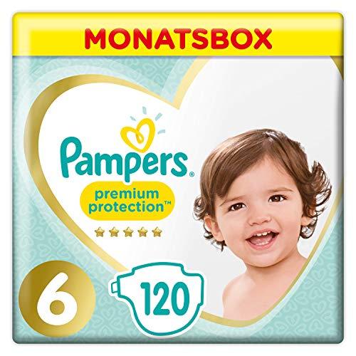 Pampers Premium Protection Windeln, Gr. 6, 13-18kg, Monatsbox (1 x 120 Windeln), Pampers Weichster Komfort Und Schutz