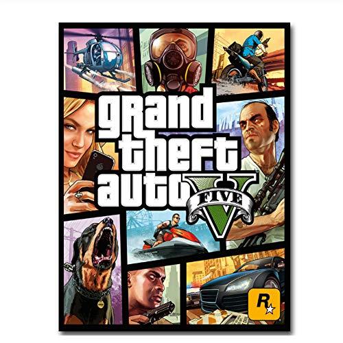 Suuyar Affiche Grand Theft Auto V Art Poster Print Game GTA 5 Photo pour Salon décoration Murale Impression sur toile-50x70 cm sans Cadre