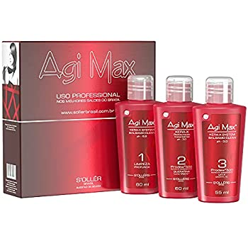 Agi Max Brazilian Natural Keratin Hair Treatment Kit for Straightening Curls and Frizz Reducing Dry Damage Nourish and Hydrate Root to Tip Support Color Treated Styles - 3 Steps  3 x 60ml