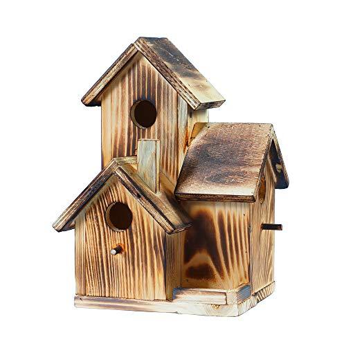 3 Vogelhaus aus Holz mit Futterhaus für Vögel and Eichhörnchen zum Aufhängen, Garten und Balkon Vintage Deko, Bird Box, Nistkästen für Vögel, Handarbeit für Gartenvögel, Familie Geschenkidee