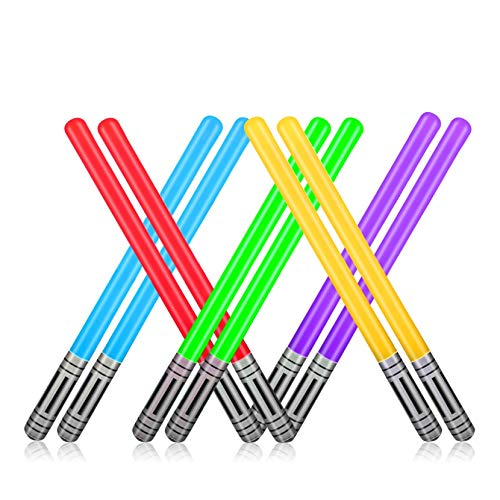 Yojoloin 10Pcs Inflatable Party Balloons Star War Light Sabre Sword Stick Balloons For Halloween Party Supplies Costume Fancy Dress Party Favors Balloons 80s Photo Booth Props (10 PCS)