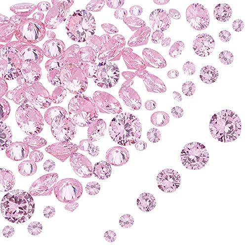 PandaHall 120 unidades de 6 tamaños de piedras de circonita cúbica sueltas con circonitas cúbicas para pendientes, pulseras, colgantes, joyas, manualidades, manualidades, color rosa