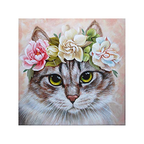 DIY 5D Full Diamond Painting Kit Diamond Art Kits for Adults A Cat with A Wreath Paint with Diamonds Kits Diamonds Embroidery by Numbers (11.8X11.8inch)