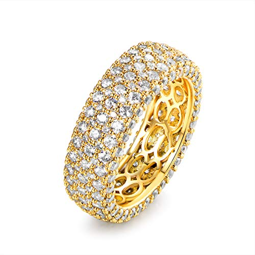 Barzel 18k Gold Plated Cubic Zirconia Eternity Band Ring Cocktail Jewelry (Gold, 7)