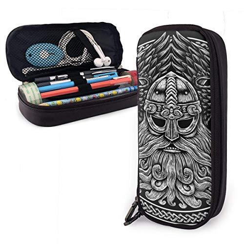 Estuche para lápices Bolso Dios nórdico Odin con cuervos y espadas. Ilustración gráfica en The Ring