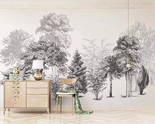 HUATULAI Wandgemälde 3D Hintergrund Personalisierte Schwarz-Weiß-Baum Tapete Wohnzimmer Schlafzimmer Tv Wandgestaltung 3D Wallpaper-400 * 280Cm