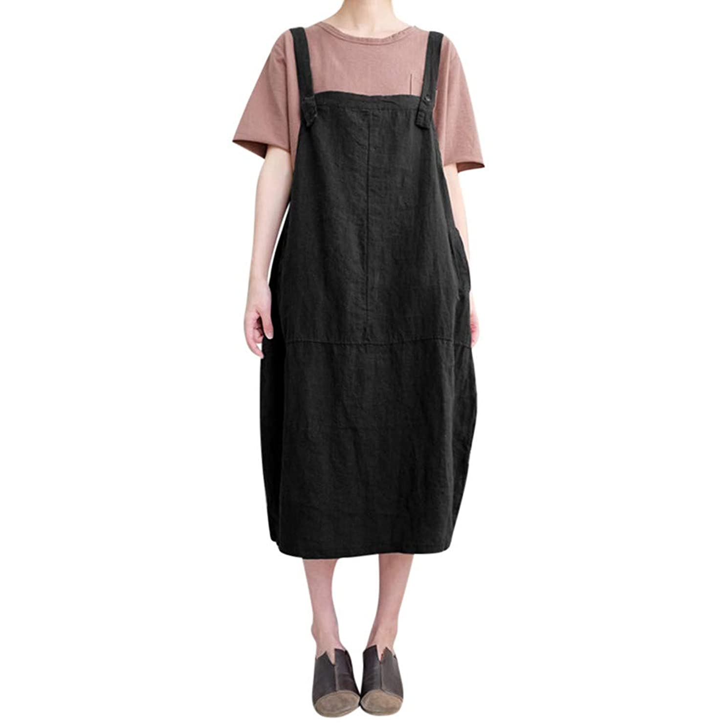 iPOGP Dress Women Casual Cotton and Linen Loose College Style Sleeveless Solid Color Spaghetti Strap Dress Fashion 2019