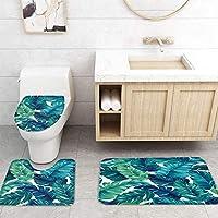 ZGDPBYF 浴室用アップホームバスマットトロピカルリーフグリーンパームリーフプリントバスマットシャワーフロア用カーペットバスタブマット