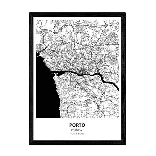 Nacnic Poster con Mapa de Porto - Portugal. Láminas de Ciudades de España con Mares y ríos en Color Negro. Tamaño A4