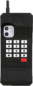 UnnFiko 3D Silicone Case Compatible with iPhone Xs Max, Retro Classic Creative Soft Rubber Bumper Cover Cool Fun Thick Protective Stand Case (Retro Cellphone Black, iPhone Xs Max)