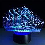 Lámpara de ilusión 3D Luz de noche LED Piratas del Caribe Inusual Ing 7 Cambio de color Acrílico Toque creativo Escritorio Sala de estar