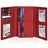 Leather Wallets for Women - RFID Blocking Checkbook Wallet with 11 Card Slots (Crimson, 7.6X4X0.8)
