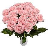 Yidarton Rosas Artificiales, 10 Piezas Ramo de Rosas Flores Artificiales de Látex Rojo/Blanco/Azul/Púrpura/Champán Flores Decorativas para Bodas, Decoración de Fiestas de Hotel