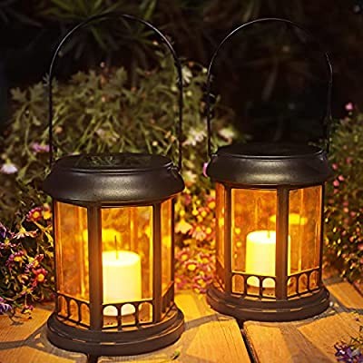 2 Pack Solar Lantern, 3 in 1 Outdoor Lanterns with Stake, Warm White LED Solar Lights Outdoor Decorative Waterproof for Garden Patio Yard Lawn (Black)
