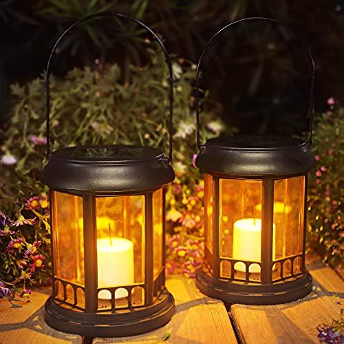 Farol Solar Exterior Jardin, Ulmisfee Luces de Linterna Solar 2 pcs, Luz LED con Vela Efecto, IP44 Impermeable Lámpara el Plastico para Decoracion Patio Terraza Césped Arboles Fiesta Navidad (Negro)