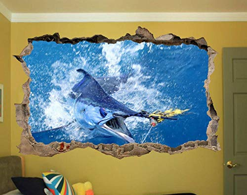 Öppet vatten fiske blå vägg klistermärke affisch 3D konst väggdekor Dekoration vägg klistermärke 70 * 100CM