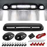 Partsam 3pcs Smoke Cover Lens White 30 LED Cab Marker Roof Running Top Lights Assembly + Wire Pack Compatible with Silverado/ Sierra 1500 1500HD 2500 2500HD 3500 2002 - 2007 Truck