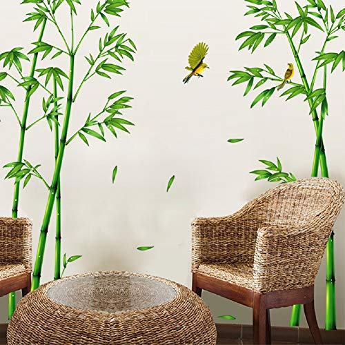 "SWORNA Nature Series SN-78 Elegant Green Bamboo Vinyl Removable DIY Wall Art Mural Sticker Decor Decal - Lady Bedroom Office Sitting Living Room Hallway Kitchen Glass Door Window Nursery 65""H X 116""W"