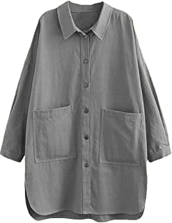 Mallimoda Damen Blusen Langarm Hemd Freizeit Oberteil Locker Shirts mit Taschen