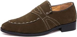 PU Leather Suede Shoes Men Shoes Light, Soft, Tough, (Color : Green, Size : 39)