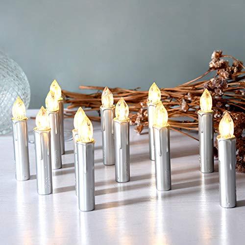 CCLIFE TÜV GS LED Weihnachtskerzen Kabellos RGB Kerzen Bunt Weihnachtsbaumkerzen Christbaumkerzen mit Fernbedienung Timer Kerzenlichter, Farbe:Silber, Größe:30er