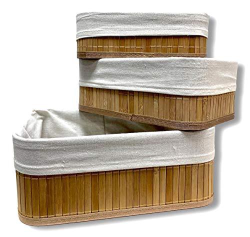 Cflagrant® Lot de 3 Boites/Paniers de Rangement en Bambou intérieur en Tissus (3 paniers)