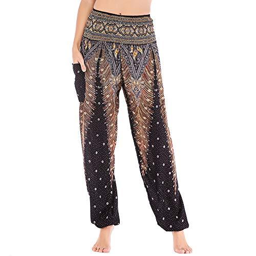 Nuofengkudu Mujer Hippie Thai Algodón Harem Pantalones con Bolsillo Boho Estampados Sueltos Pantalón Cintura Alta Indios Yoga Pants Pijama Verano Playa(Negro Pavo,Talla única)
