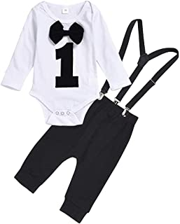 Fmystery Toddler Baby Boy Kids Gentleman Bow Tie Romper Suspender Trousers Pants Outfits