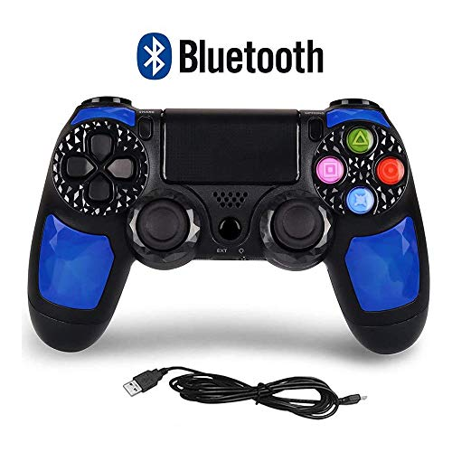 WRISCG Controlador PS4 Gamepad PC inalámbrico Bluetooth, Joystick con Pantalla táctil con Doble vibración, para PS4 / Pro/Slim/PC, Panel táctil Batería Recargable, Bluetooth, LED,A