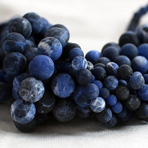 Perles rondes en sodalite naturelle de qualité A (bleu) givré mat semi-précieuses – 6 mm – Fil de 39 cm
