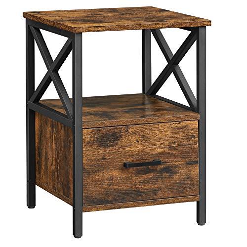 VASAGLE Nachttisch, Beistelltisch, Nachtkommode, offenes Ablagefach, Schublade, 40 x 40 x 55 cm, vintagebraun-schwarz LET508B01
