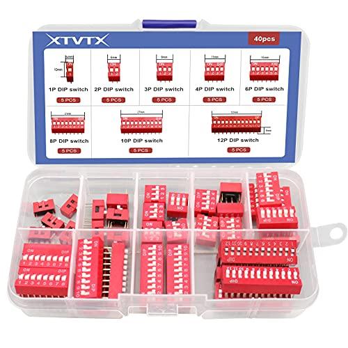 XTVTX 40 piezas Fila doble Dip switch 1 2 3 4 6 8 10 12Pin Tipo de diapositiva de 2,54 mm rojo PCB del interruptor de palanca Interruptor encendido/apagado para placas de circuito y Arduino