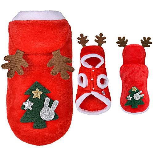 Gbrand Cute Pet Costume Outfits Red Christmas Santa Claus Hat Scarf Cosplay Dressing up Xmas Party Fashion New Year Clothing Accessories for Small Pet Cat Dog (Elk, S)