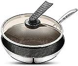 Wok Antiadherente Skillet Potes de acero inoxidable para el hogar, ollas antiadherentes con asas y ollas de acero inoxidable multiuso con tapas.