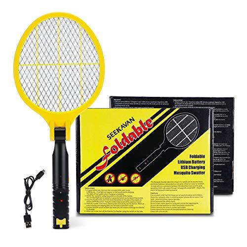 SEEKAVAN Elektrische Fliegenklatsche Fliegenfänger Insektenschläger, USB wiederaufladbar, klappbar, Doppelte Schichten Mesh Schutz, LED-Licht, 4000 Volt
